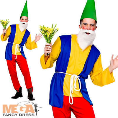Funny Garden Gnome Dwarf Mens Fancy Dress Fairytale Panto Stag Adults Costume • 14.49£