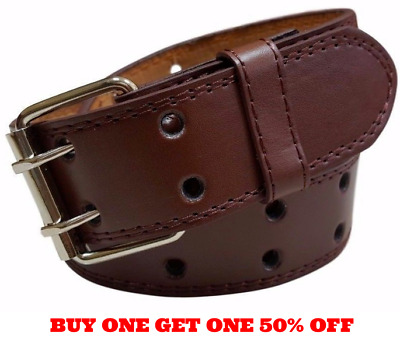 $8.95 • Buy Genuine Leather Two Row Double Row Prong Holes Casual Brown Belt