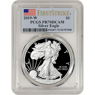 $92.75 • Buy 2019-W American Silver Eagle Proof - PCGS PR70 DCAM First Strike Flag Label