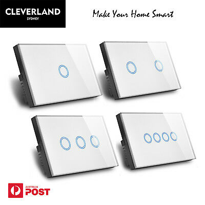 AU27.90 • Buy Au Stock Touch Glass Light Switch 1 2 3 4 GANG Wall Light Switch Glass Panel LED