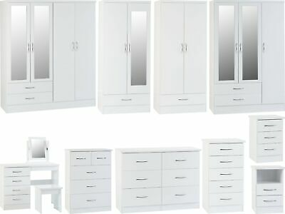 £157.95 • Buy Seconique Nevada White High Gloss Bedroom Range - Wardrobes Chest Bedsides