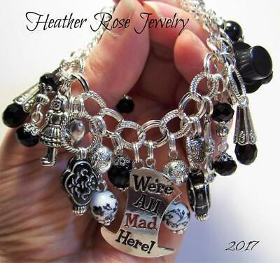 $25 • Buy Silver-alice In Wonderland-mad Hatter-all Mad Here-charm Bracelet-handmade-ooak