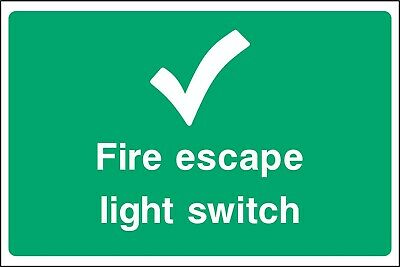 SAFETY SIGNS Fire Escape Light Switch - Self Adhesive Waterproof Vinyl Sticker • 1.95£