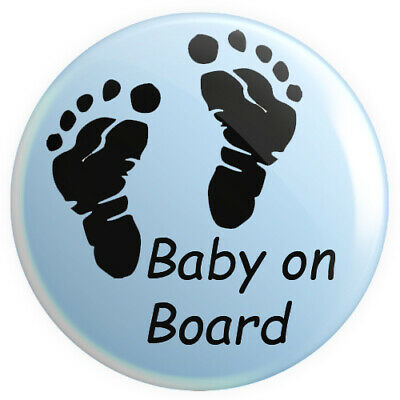 Baby On Board BUTTON PIN BADGE 25mm 1 INCH | Blue Pregnant Footprints • 0.99£