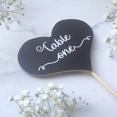 £10 • Buy Wooden Wedding Table Number Decorations - Chalkboard Table Decor - Calligraphy