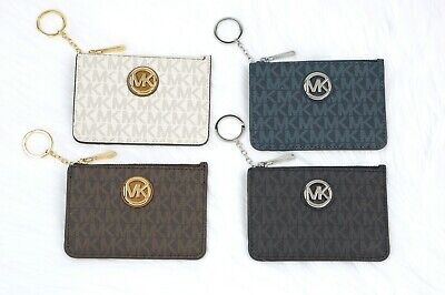 3aefd8a01d49 Michael Kors FULTON Jet Set Coin Pouch Wallet Card ID Case With Key Chain  Holder •