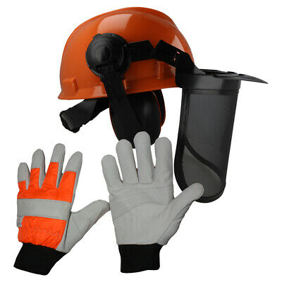 £28.25 • Buy Chainsaw Protection Helmet With Steel Mesh Visor & Chainsaw Gloves Medium