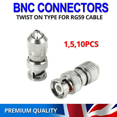 BNC Screw/Twist On Connector Adapter Plug For Coaxial RG6 & RG59 CCTV Camera UK • 4.69£
