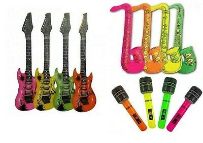 Neon Inflatable Musical Instruments Guitar Saxophone Microphone Blow Up  Mike Fa • 2.99£