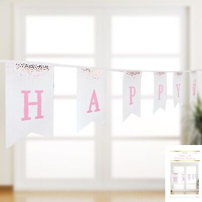 AU3.99 • Buy First Birthday Girl Confetti Happy 1st Birthday Banner Sign Party Decoration