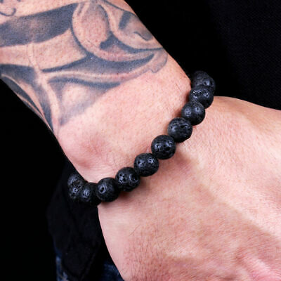 $4.99 • Buy Men's Classic Lava Rock Stone Healing Essential Oil Diffuser Beaded Bracelets