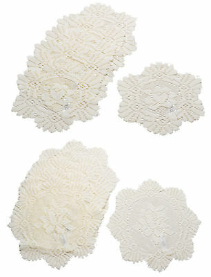Cream Floral Lace Round Doilies 6 Pack Traditional Table Dressing Mats 20cm 30cm • 6.40£