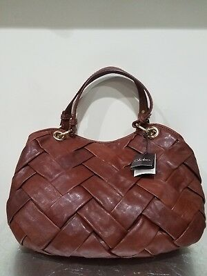 4c576aa84a NEW Cole Haan Woven Leather Handbag Prudence Satchel Brown NWT • 189.00$
