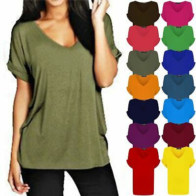 £4.99 • Buy Womens Ladies Baggy V Neck Batwing Turn Up Sleeve Loose Fit Oversize T-Shirt Top