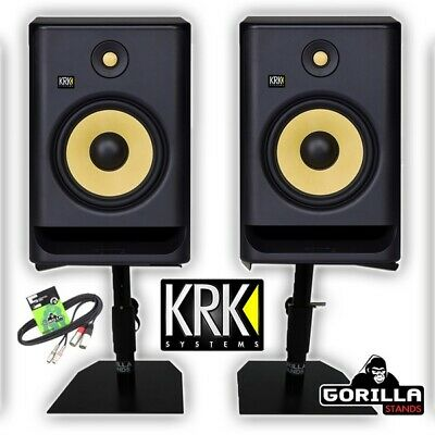 £469 • Buy KRK Rokit RP8 G4 Active 8  DJ Studio Monitor Speakers (Pair) With Stands & Cable