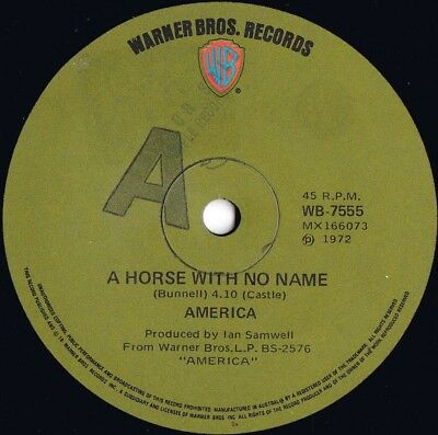 America ORIG OZ Promo 45 A Horse With No Name VG+ '72 Warner Country Pop Rock • 9.40£