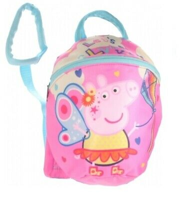 PEPPA PIG Toddler Girls Kids Backpack Rucksack Bag With Reins Straps Safety  • 12.99£