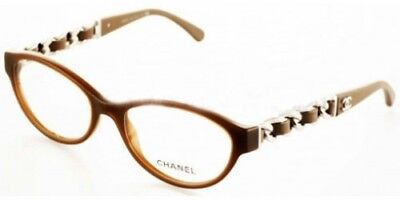 1118ee45bb36b Chanel Eyeglasses 3223 Q 1276 Brown Silver Leather Chain Authentic New •  164.00