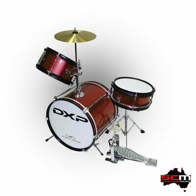 AU199 • Buy  Junior 3 Piece Drum Set DXP Great Quality Wine Red Finish With Cymbal & Sticks