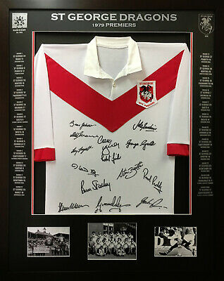 AU500 • Buy Blazed In Glory - 1979 St George Dragons Premiers - NRL Signed And Framed Jersey