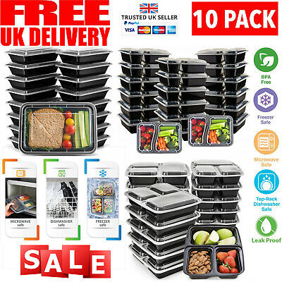 10 Meal Prep Food Containers 1,2,3 Compartment BPA FREE Plastic Lunch Box Lids • 10.99£