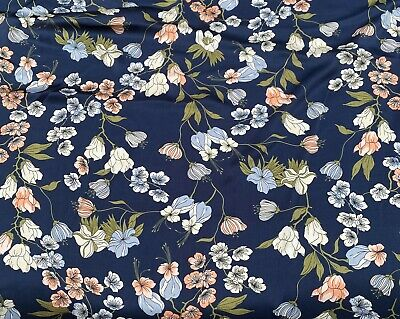 £6.90 • Buy High Quality Silky Satin Fabric Floral Flowers Summer Dress 145cm Wide