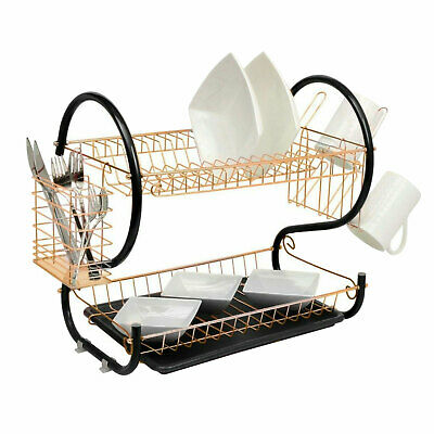 2 Tier Copper Dish Drainer Cutlery Cup Plates Holder Sink Rack Drip Tray • 13.99£