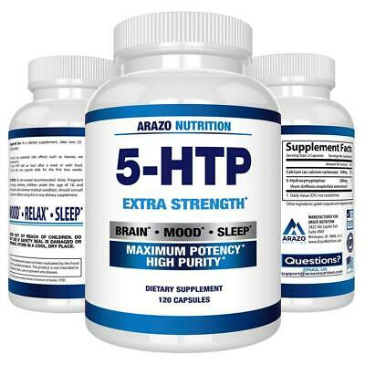 AU34.21 • Buy 5-HTP 200 Mg Supplement - 120 Capsules - Arazo Nutrition