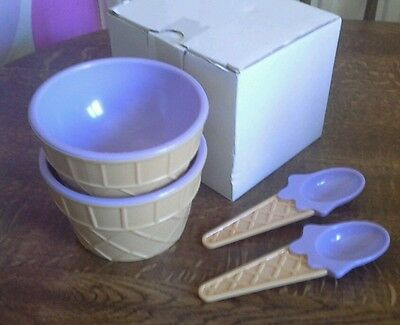 £8.99 • Buy BRAND NEW Ice Cream Design Bowls With Spoons/GREAT USEABLE NOVELTY ITEM FREE P&P
