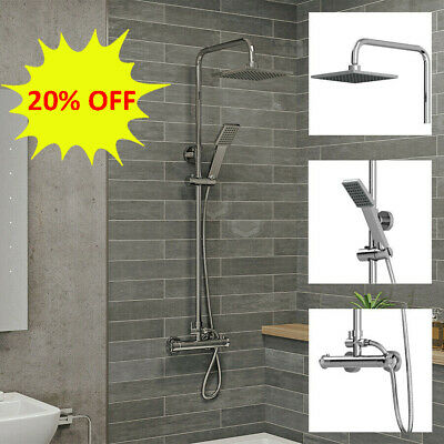 £55.05 • Buy Thermostatic Exposed Shower Mixer Bathroom Twin Head Large Square Bar Set Chrome