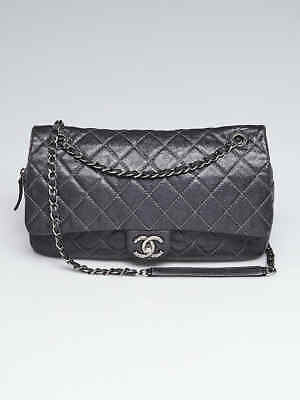 64d005f5e6a7 Chanel Dark Silver Quilted Caviar Leather Easy Jumbo Flap Bag • 1