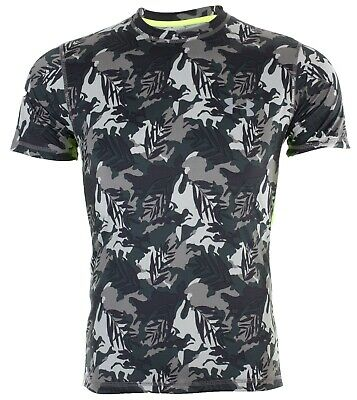 UNDER ARMOUR Men Athletic T-Shirt RED BLACK GRAPHIC Semi Fitted Heat Gear $40