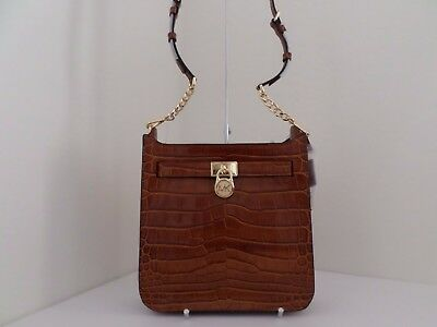 a96322a18a72 Nwt Auth Michael Kors Hamilton Medium Embossed Leather Messenger  Bag-$298-walnut • 164.99