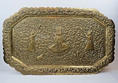 $149 • Buy Antique Handcrafted Indo-Persian GANESHA Hand Tooled Hammered Tray 20  By 12