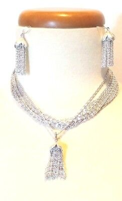 $28 • Buy Vintage 1960 Sarah Coventry Silver Jewelry Set Multi-Strand Choker With Tassels