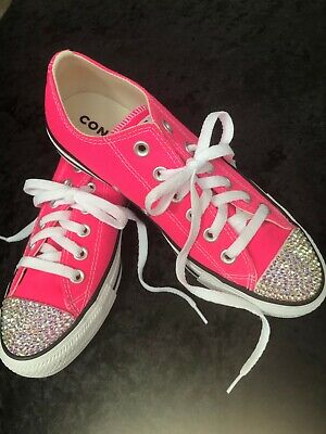 CONVERSE ALL STAR Pink With SWAROVSKI CRYSTALS AB & STARS WOMEN'S 5-9.5 • 86.70£