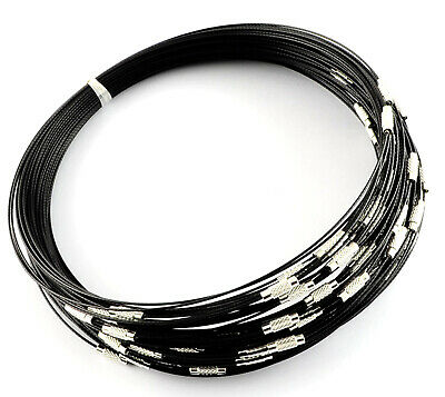 10 Memory Wire Choker Necklaces -  Black - 18  Necklace - 1mm Wire - P00222M • 3.29£