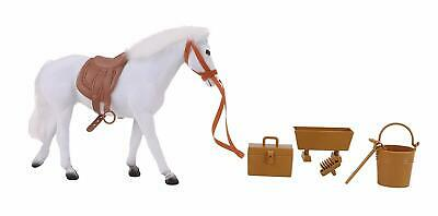 20cm White Flocked Horse With Accessories - Horse Toys -Farm Toys- ES89-WHITE-TL • 9.99£