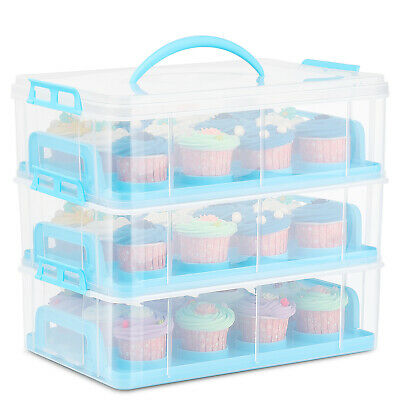 Cupcake Carrier Holder Container Box Plastic Storage Basket Taker Courier, Blue • 27.67£