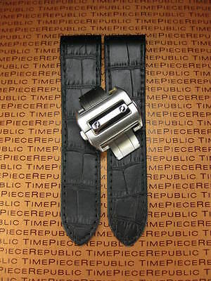 £46.99 • Buy 24.5mm Leather Strap Watch Band Buckle Set For Cartier Santos 100 XL Chronograph