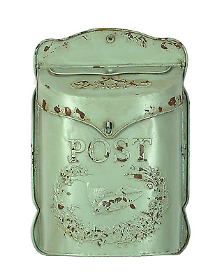 $47.79 • Buy Mailbox Mail Letter Box Antique Decor Vintage Wall Mount Creative Aqua Embossed