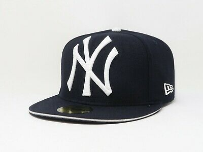 921a42eae New Era 59Fifty Hat MLB New York Yankees Navy Blue Big One Fitted Mens 5950  Cap