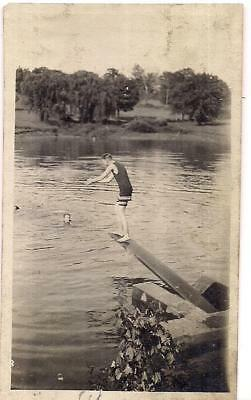 Wool Swimsuit Young Man On Diving Board Prepares To Dive Into Lake Vintage Photo • 15.04£