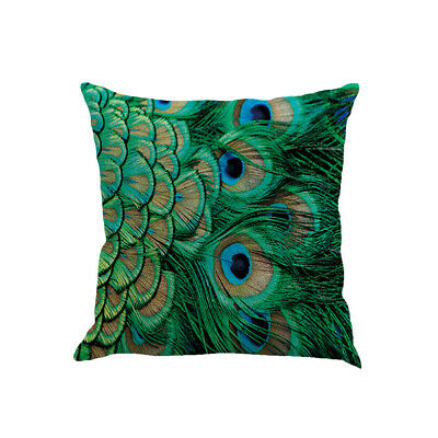 Pillow Covers Cases Peacock Feather Pattern Soft Flax Pillowcases Cushion Covers • 4.51£