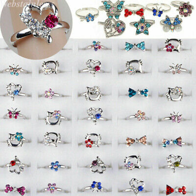 $ CDN15.57 • Buy 50/100pcs Wholesale Lots Mixed Jewelry CZ Crystal Rings Children Kids Band Ring