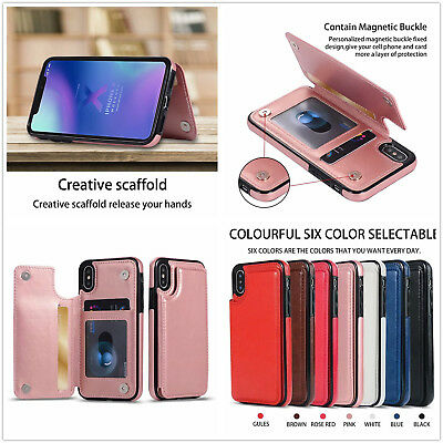 AU9.39 • Buy Premium Hybrid TPU & Leather Case With Card Holder Fr Iphone XS MAX XR X 8 7 6