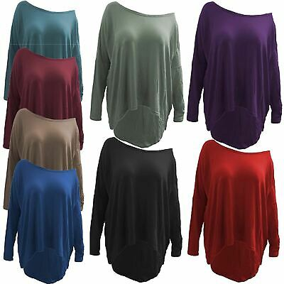 Ladies Lagenlook Oversized Layering Baggy Off The Shoulder Dipped Hem Jumper Top • 5.99£