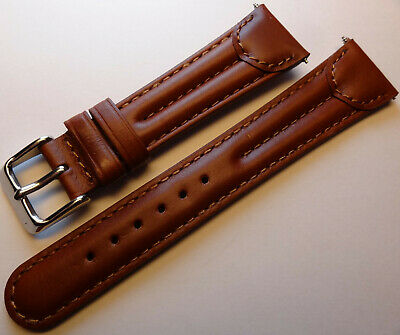 $ CDN15.67 • Buy New Mens Brown Double Padded Oiled Leather 20mm Watch Band Silver Tone Buckle