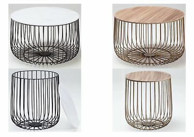 £67.95 • Buy Enzo Black Or Gold Cage Coffee/Lamp Table - Removable Marble Or Oak Finished Top