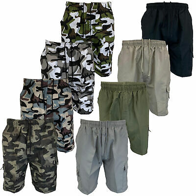 Mens Camouflage Combat Cargo Shorts Knee Length Army Military Sports Summer New • 7.25£